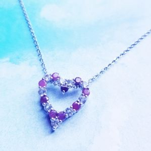 Ruby and White Topaz Heart Pendant Necklace 💟